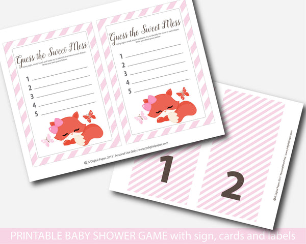 Pink woodland dirty diapers baby shower game, Pink fox guess the sweet mess, Fox baby shower dirty diaper game, Diaper game card & sign, BF1-12
