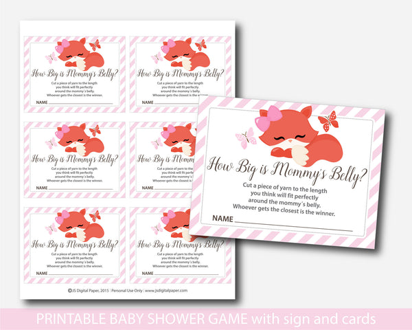 Woodland How big is mommy´s belly game, Fox baby shower belly game with cards and table sign, Belly guessing game, Moms belly game, BF1-13