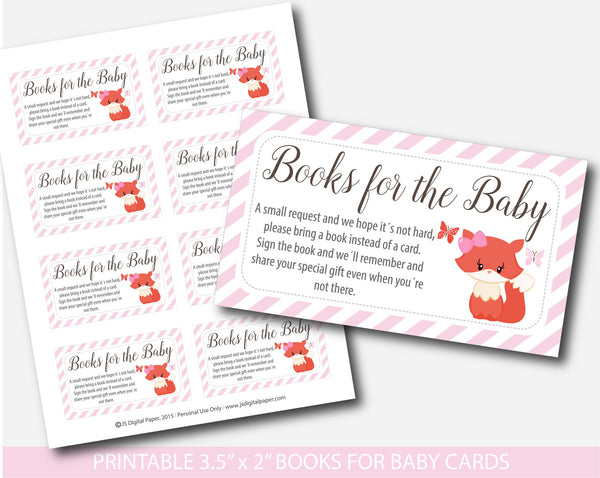 Woodland Bring a book instead of a card inserts, Fox baby shower books for the baby cards, Fox book request, Baby shower fox inserts, BF1-14