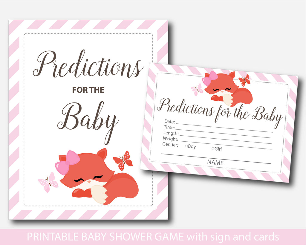 Woodland baby predictions, Fox predictions for the baby with cards and sign, Woodland prediction cards, Fox baby shower prediction baby cards, BF1-17