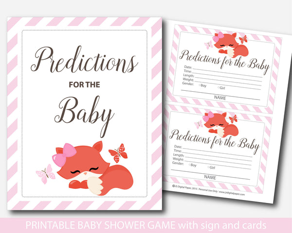 Fox predictions for the baby with cards and sign, Woodland prediction cards, Fox baby shower prediction baby cards, BF1-17