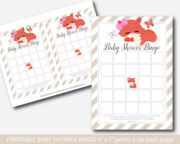 Fox baby shower bingo cards, Fox baby bingo, Fox bingo cards, Woodland bingo cards, Woodland bingo game, Woodland baby shower, BF2-02