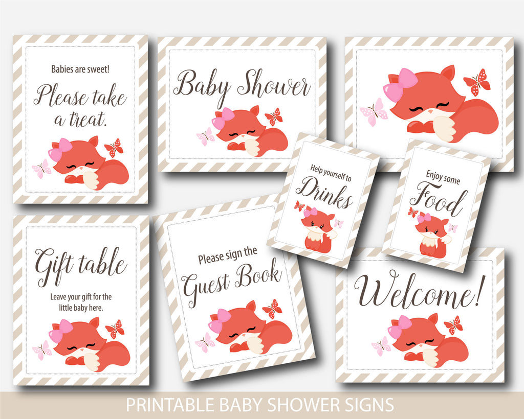 Fox baby shower table signs, Woodland baby shower table signs, Fox table signs, Woodland table signs, Welcome baby shower, Baby shower decor, BF2-07