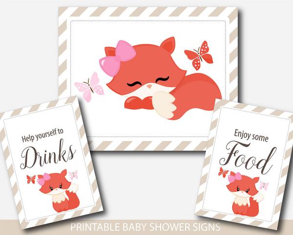 Woodland fox baby shower table signs, Woodland theme baby shower table signs, Baby shower woodland decor, BF2-07