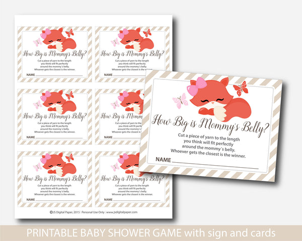 Woodland How big is mommy´s belly game, Fox baby shower belly game with cards and table sign, Belly guessing game, Moms belly game, BF2-13