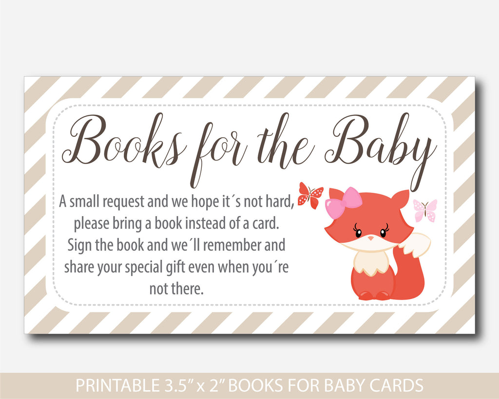 Woodland Bring A Book Instead Of A Card Inserts, Fox Baby Shower Books For  The