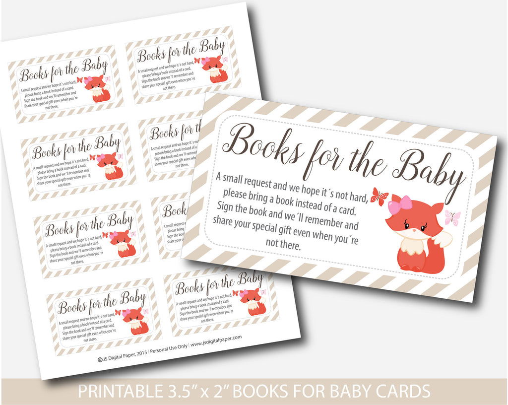 ... Woodland Bring A Book Instead Of A Card Inserts, Fox Baby Shower Books  For The