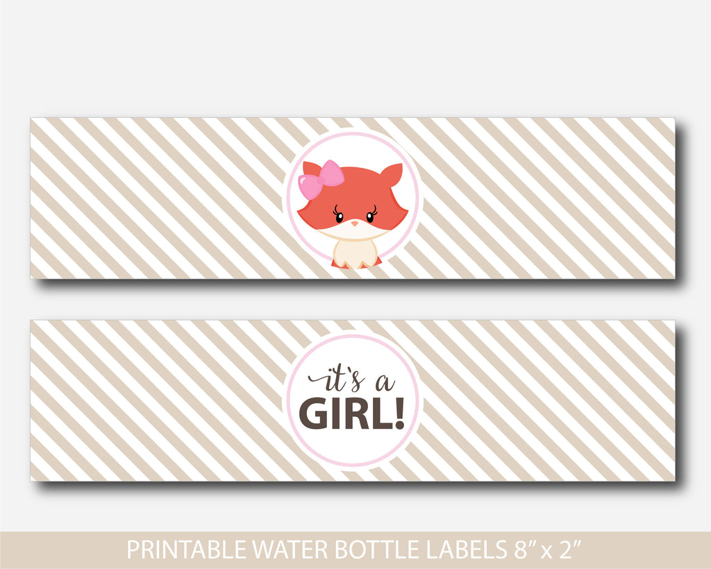 Fox water bottle labels, Animal baby shower water bottle labels, Fox water drink labels, Woodland water labels, Forest water labels, BF2-18