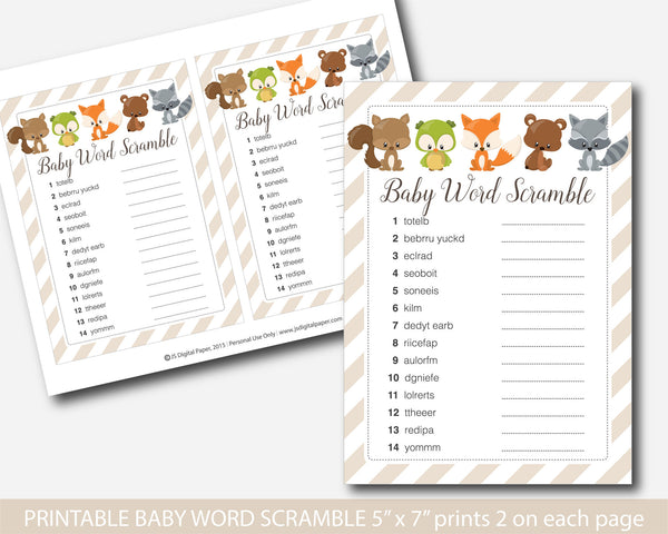 Word scramble woodland baby shower game, Woodland baby word game, Woodland theme baby shower, Woodland word game, BF3-03