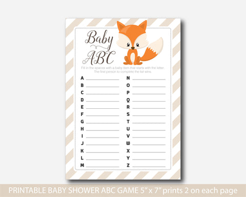 ABC woodland baby shower game, Woodland baby abc game, Fox theme baby shower, Woodland abc game, Woodland baby shower, BF3-04