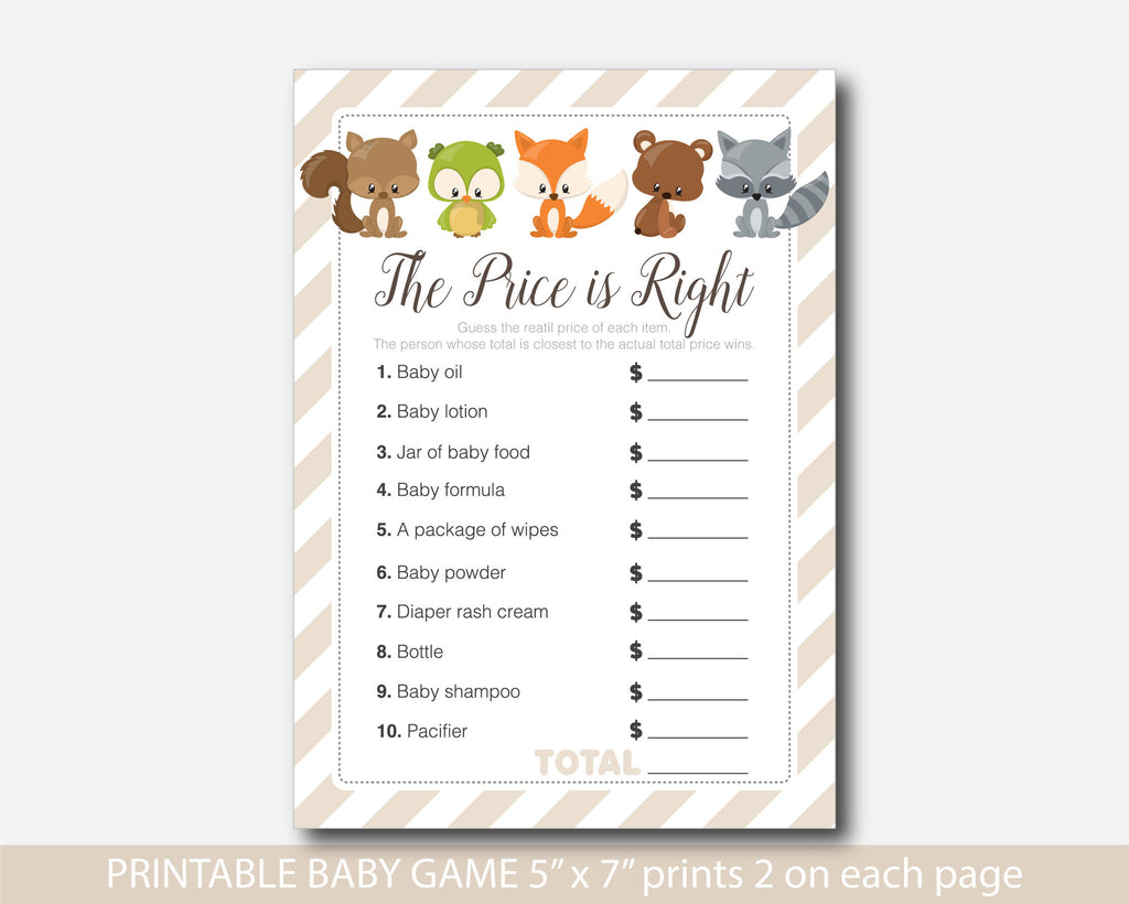 Woodland the price is right game, Woodland baby shower, Fox baby shower the price is right, Woodland baby price game, Woodland theme, BF3-05