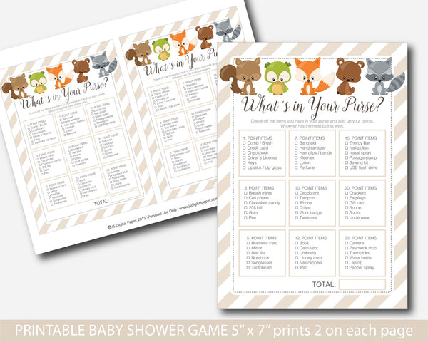 Whats in your purse woodland baby shower, Woodland baby purse game, Woodland whats in your purse game, Woodland theme baby shower, BF3-06