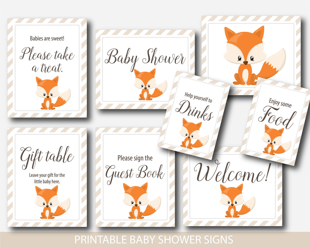 Woodland baby shower table signs, Woodland table signs, Fox table signs, Woodland baby shower signs, Welcome baby shower, Woodland decor, BF3-07