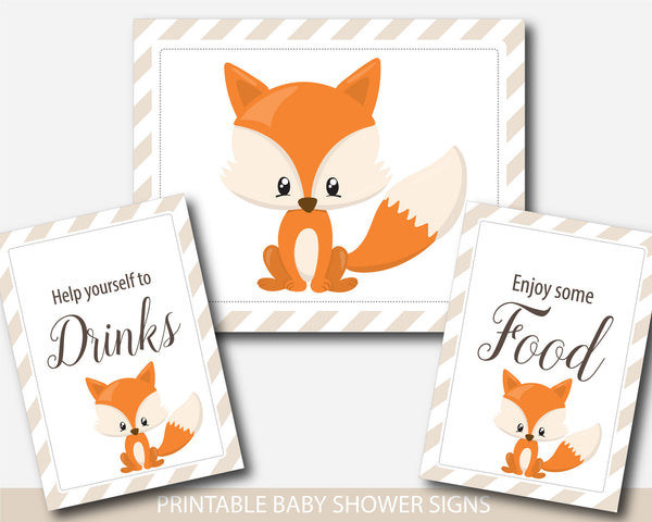 Fox baby shower table signs, Woodland table signs, Fox table signs, BF3-07