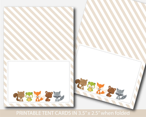 Woodland food tent cards, Fox baby shower food labels, Place cards, Food tent labels, Place settings, Buffet labels, BF3-10