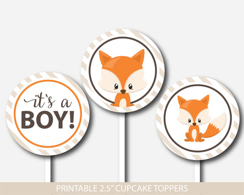 Woodland cupcake toppers, Fox cupcake toppers, Printable cupcake decorations for baby shower, Forest animal cupcake topper, BF3-11