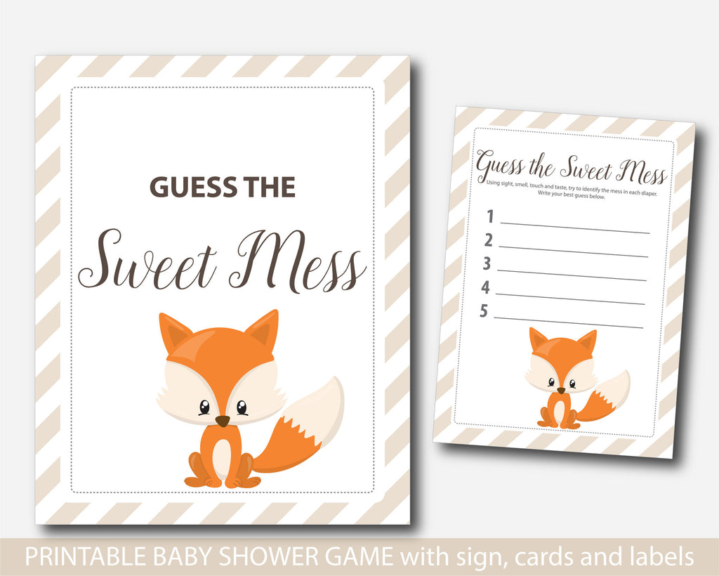 Fox Guess The Sweet Mess, Woodland Dirty Diapers Baby Shower Game, Fox Baby  Shower