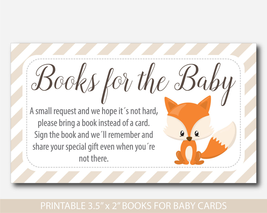 Baby Shower Books Instead Of Cards ~ Woodland bring a book instead of card inserts fox baby