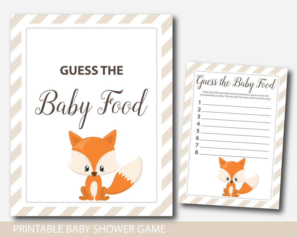 Woodland baby food game, Woodland guess the baby food game, Woodland baby shower baby food guessing game, Fox baby food game, BF3-15