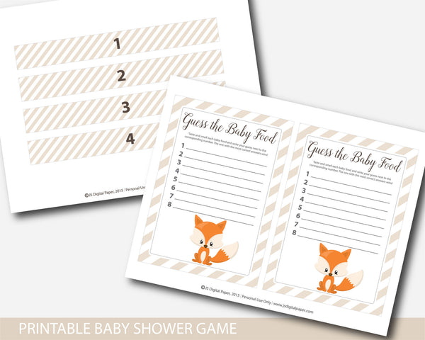 Woodland fox baby food game, Woodland guess the baby food game, Woodland baby shower baby food guessing game, BF3-15
