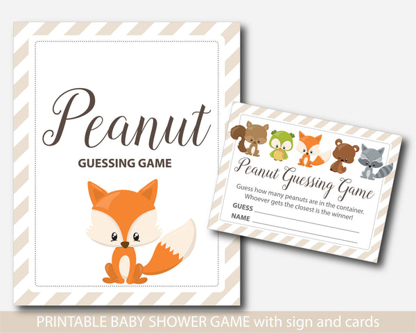 Woodland candy guessing game, Peanut M&Ms guessing game, Fox candy guessing game, Jelly bean game, Woodland baby shower, BF3-16