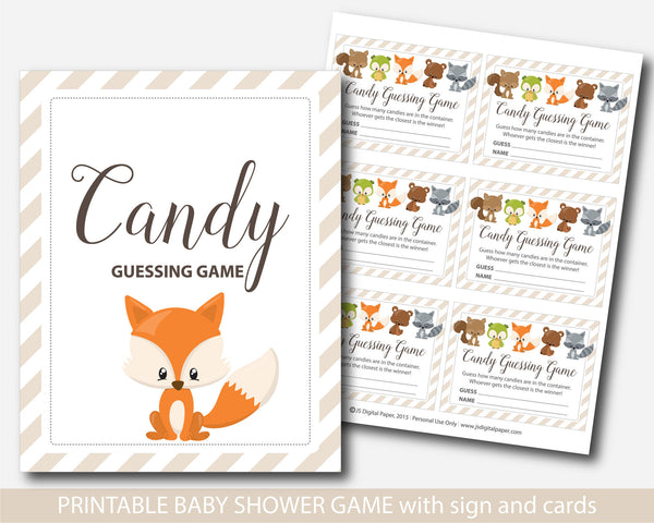 Woodland candy guessing game, Fox candy guessing game, Woodland baby shower theme, BF3-16