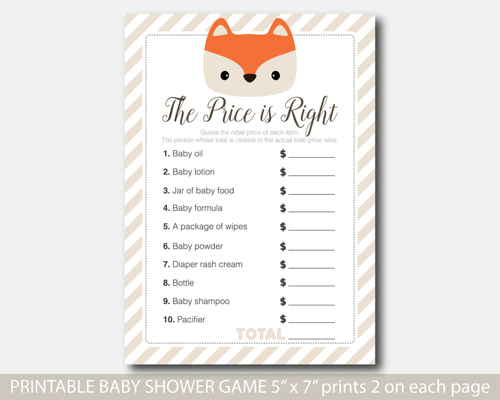 Woodland fox baby shower the price is right game, BF4-05