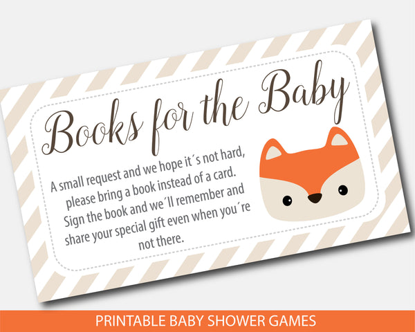 Fox book request inserts for woodland themed baby shower, BF4-09