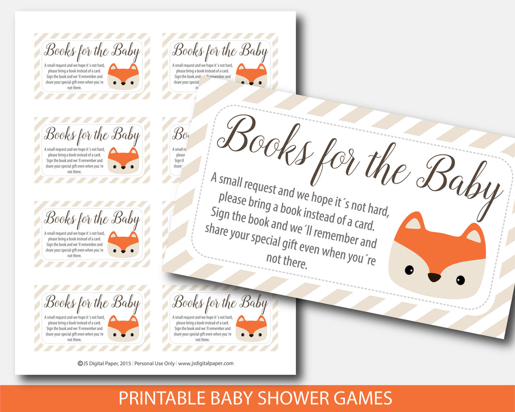 Fox Book Request Inserts For Woodland Themed Baby Shower Bf4 09