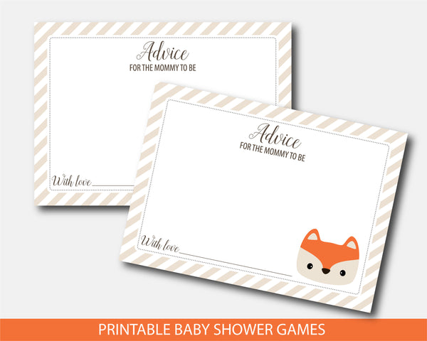 Advice for the mommy to be card and sign, Printable fox baby shower theme, BF4-10