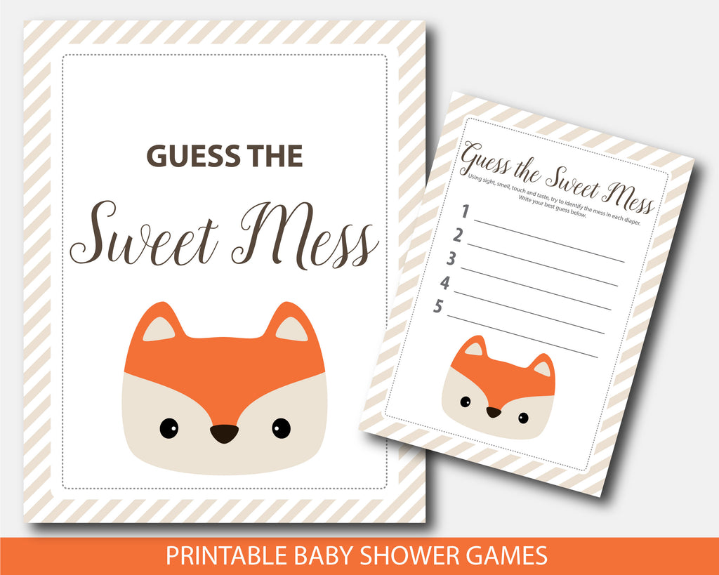 Guess the sweet mess woodland fox baby shower game with card and sign, BF4-11