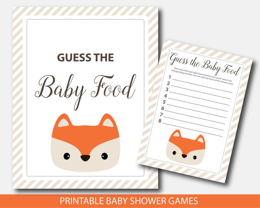 Guess the baby food baby shower game, Woodland fox baby game, BF4-13