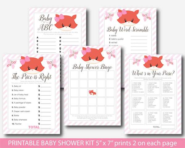Girly fox baby shower games, Printable fox theme baby shower set, BF5-01