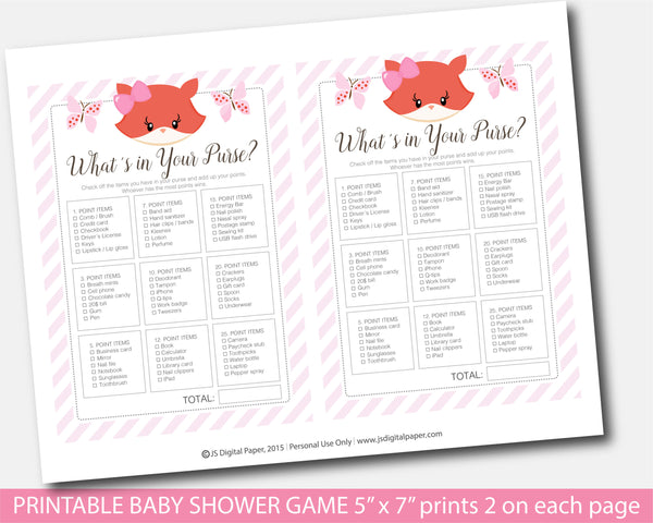 Girly fox what´s in your purse baby shower game, BF5-06