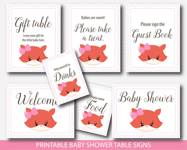 Girly fox baby shower table signs, Gift table signs, Take a treat sign, Sign the guestbook, BF5-07