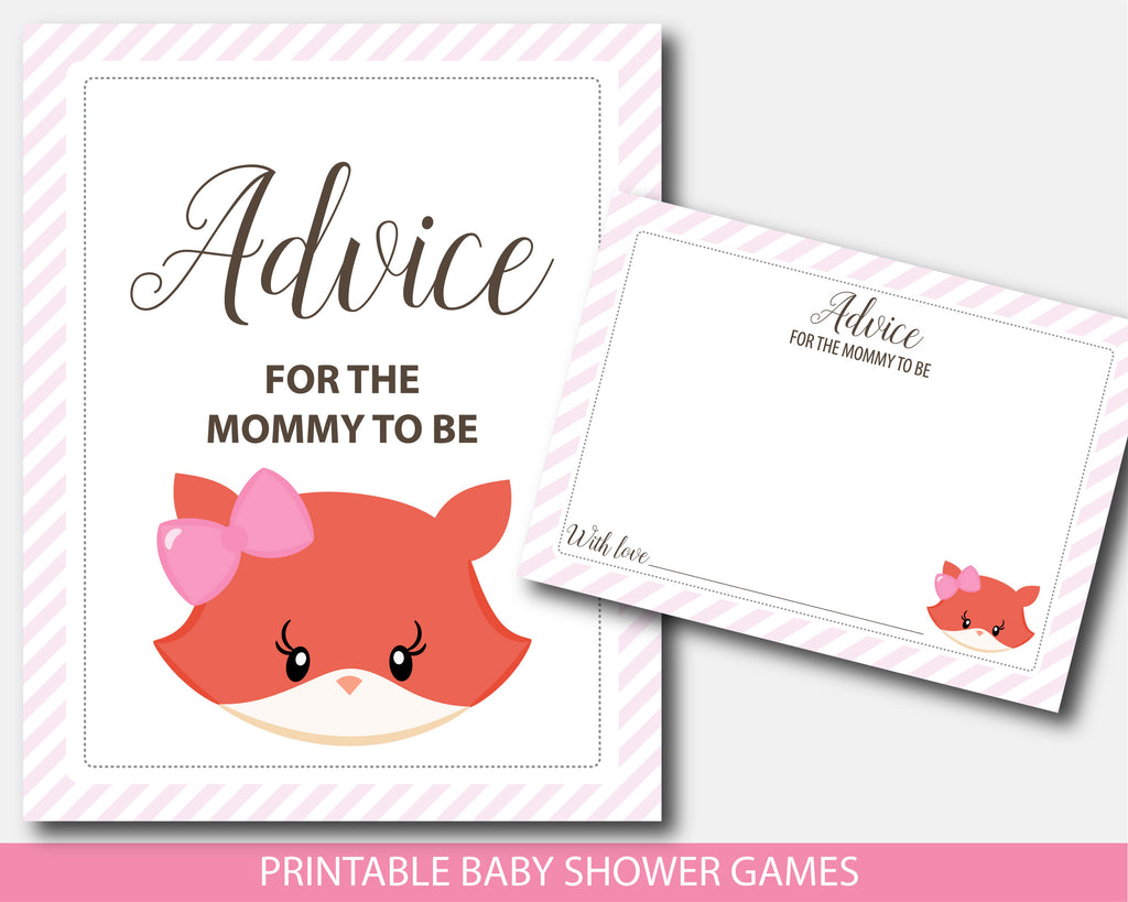 Girly fox baby shower advice for the mommy to be, sign and cards, BF5-10