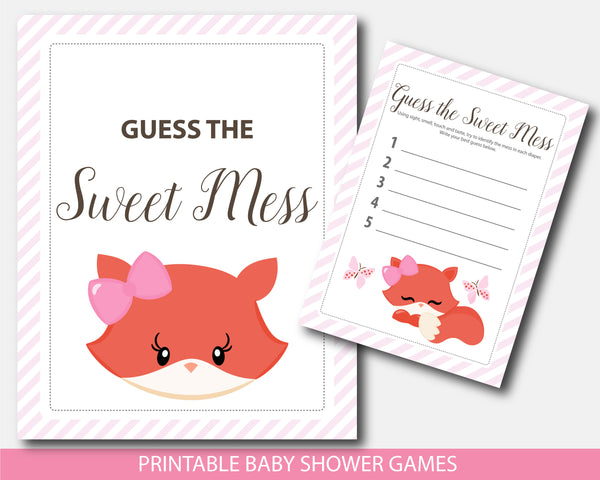 Girly fox guess the sweet mess printable baby shower game, BF5-11