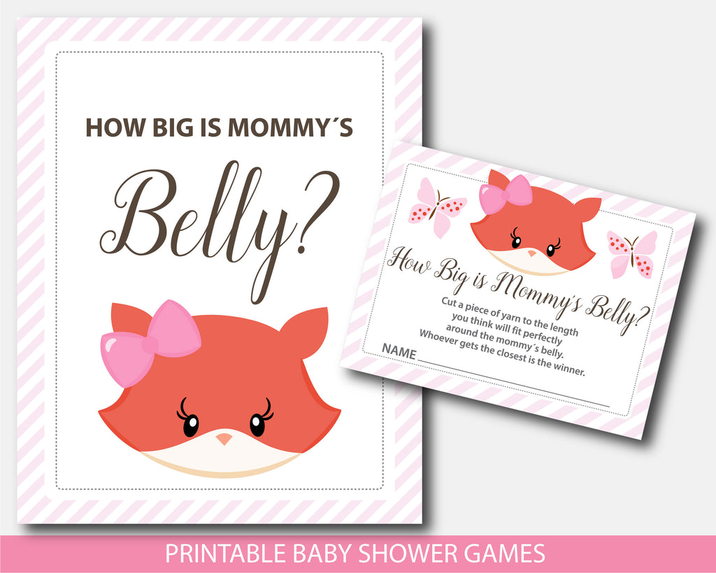 Girly fox baby shower belly game with cards and table sign, BF5-12