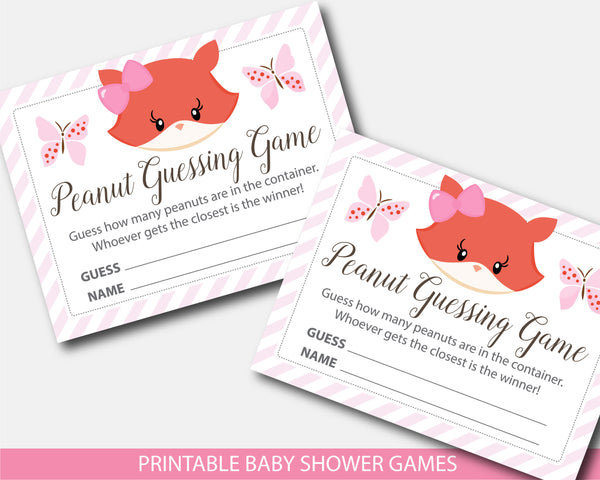 Girly fox peanut baby shower guessing game, BF5-14