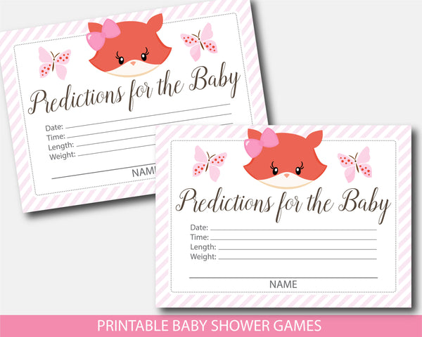 Girly fox predictions for the baby with cards and sign, BF5-15