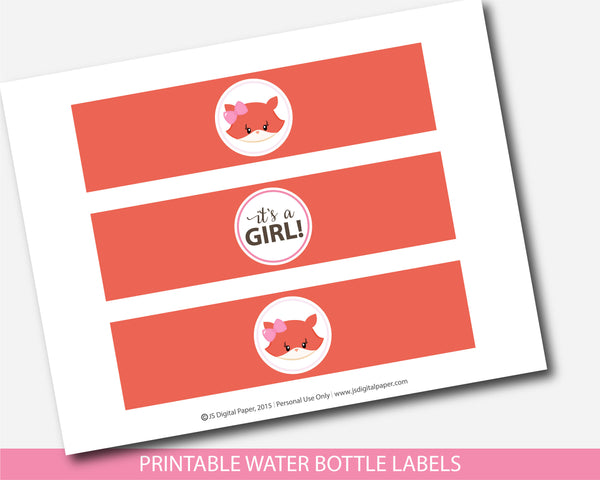 Girly fox water bottle labels for fox themed party, BF5-18