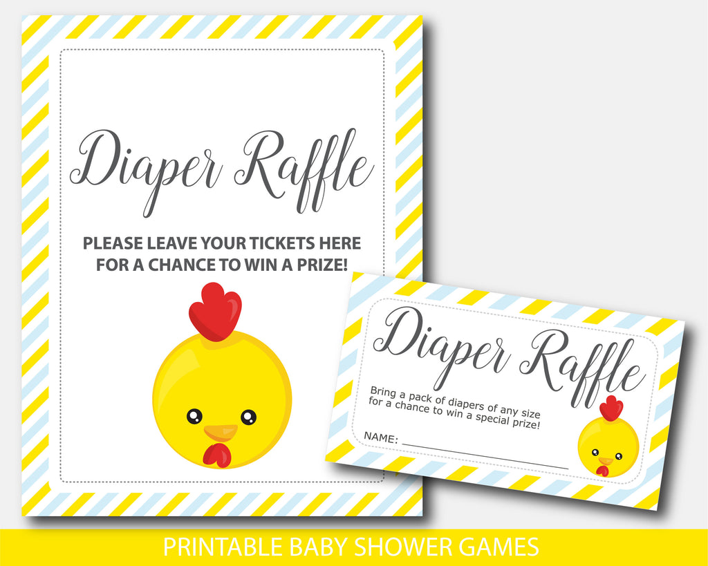 Farm chicken diaper raffle baby shower inserts, Farm animal baby shower raffle cards and sign, BFA1-08