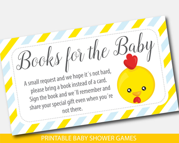 Bring a book instead of a card inserts with yellow chicken farm animal, BFA1-09