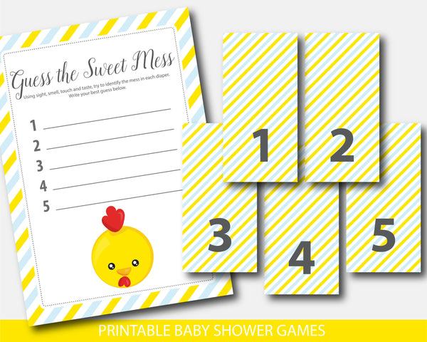 Yellow baby chicken dirty diapers baby shower game, Farm animal baby shower guess the sweet mess game, BFA1-11
