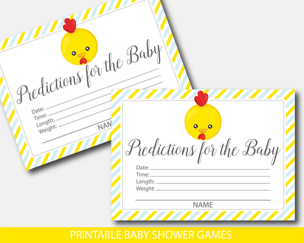 Yellow baby chicken baby shower predictions, Farm animal predictions for the baby with cards and sign, BFA1-15