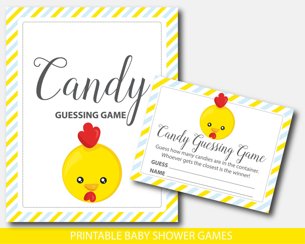 Chicken baby shower candy guessing game, Farm chicken peanut guessing game, BFA1-16