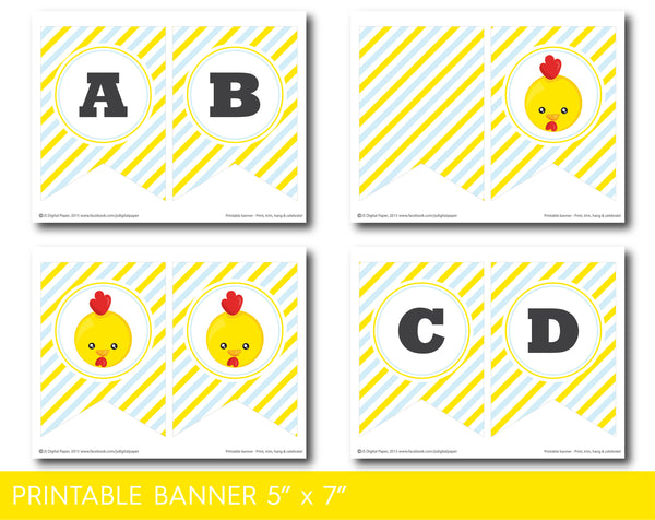 Blue and yellow chicken baby shower banner with stripes, BFA1-19