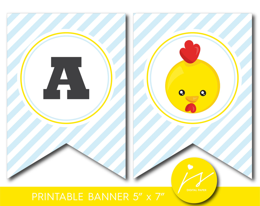 Printable yellow chicken party banner with baby blue stripes, BFA1-20