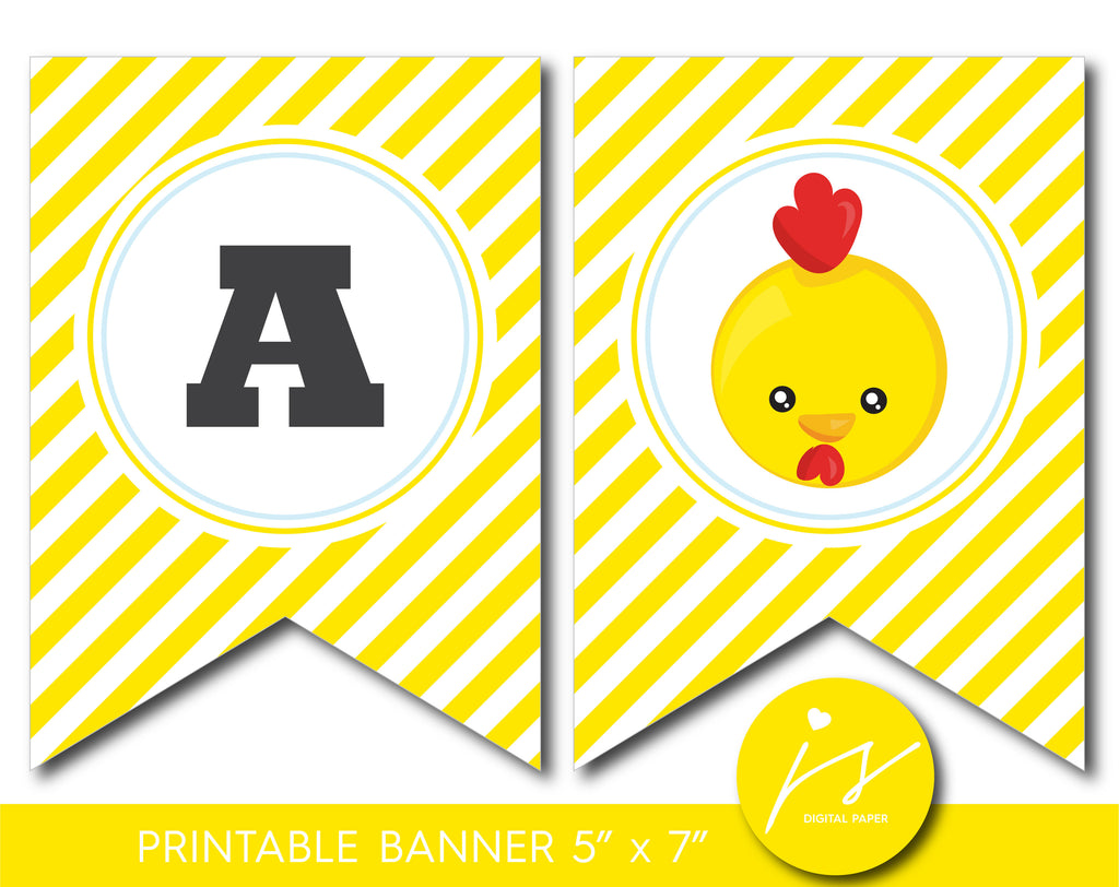 Farm animal party banner with yellow stripes, Printable chicken banner, BFA1-21