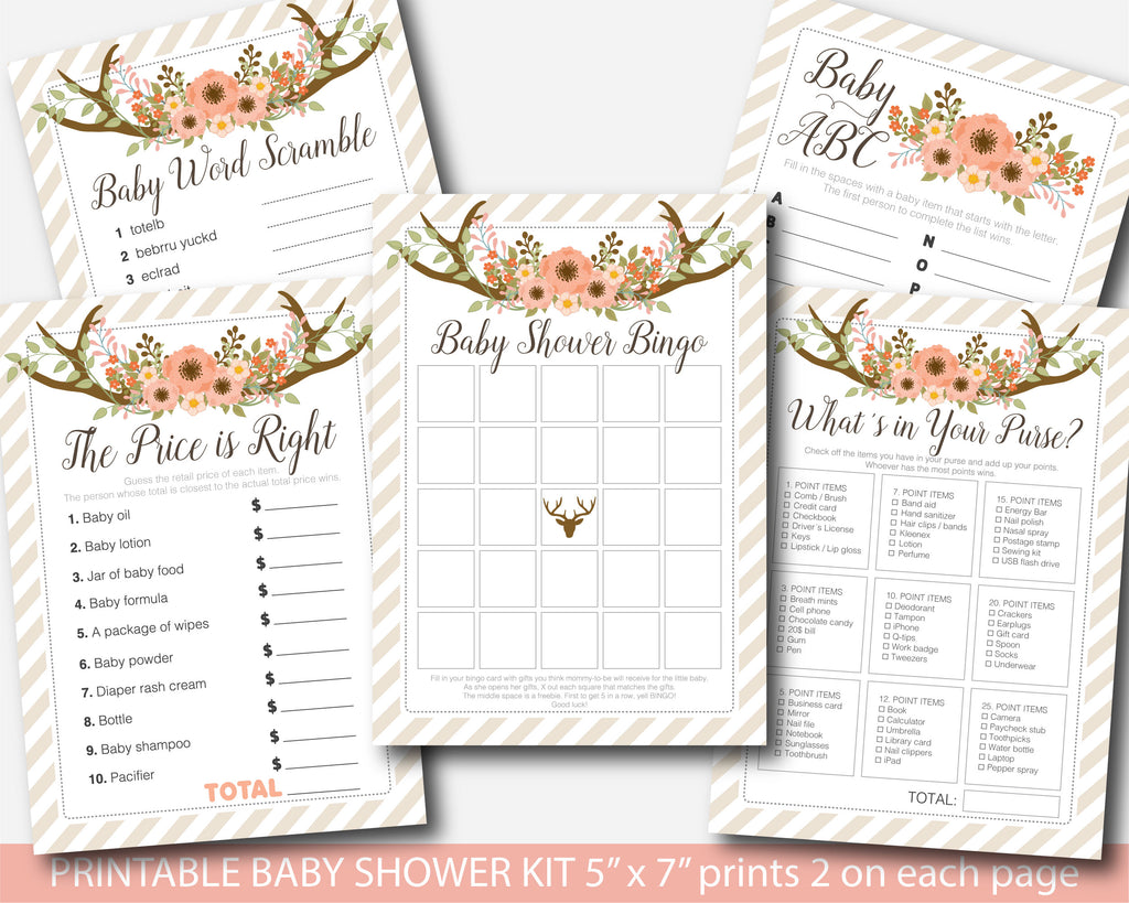 Floral baby shower games package, Boho baby shower game kit, Flower baby shower game set, Instant download, BFL1-01